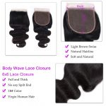 Body Wave 3 Bundles With 6×6 Lace Closure