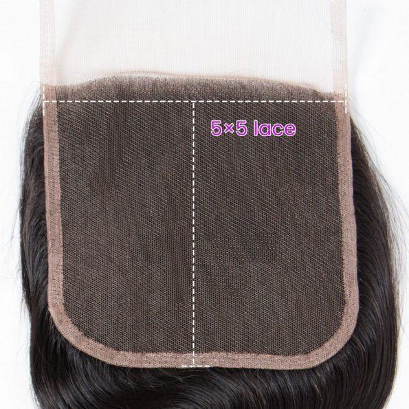 Straight Hair 3 Bundles With 5×5 Closure