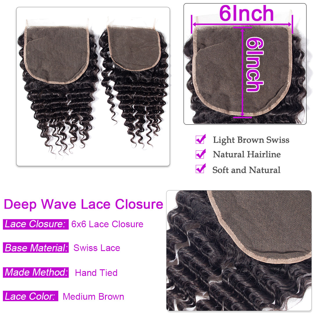 Deep wave 6x6 Lace Closure