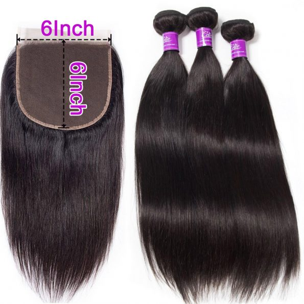 Straight Hair 3 Bundles With 6×6 Lace Closure