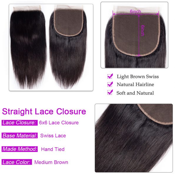 Straight Hair 4 Bundles With 6×6 Lace Closure