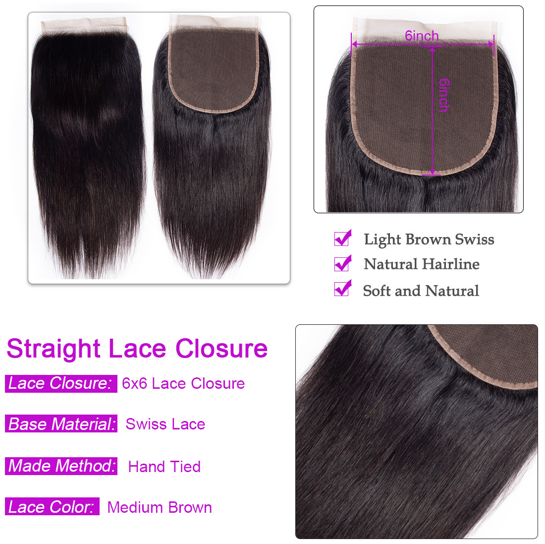 Straight Hair 4 Bundles With 6x6 Lace Closure