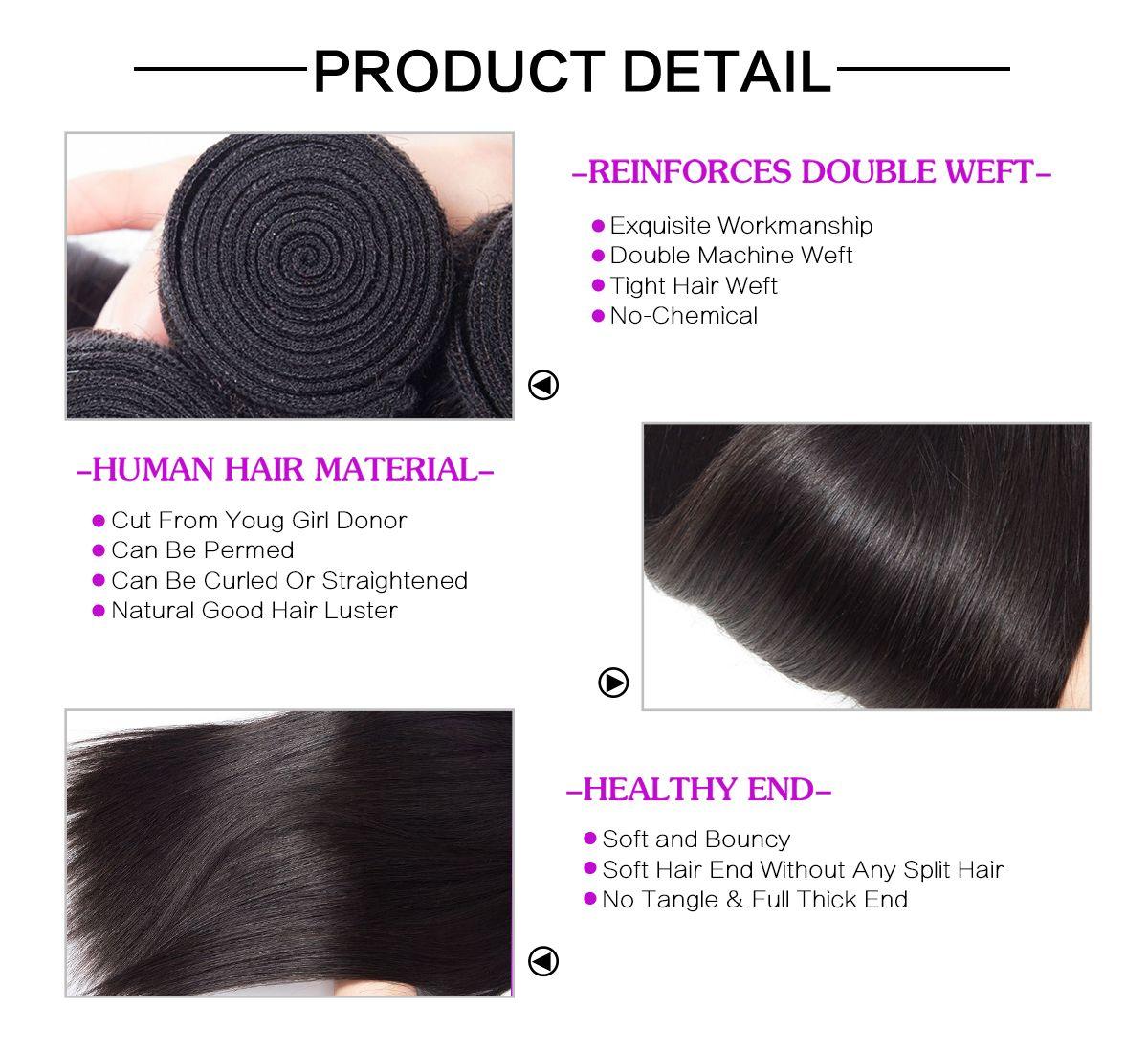Straight Hair 3 Bundles With 5x5 Closure