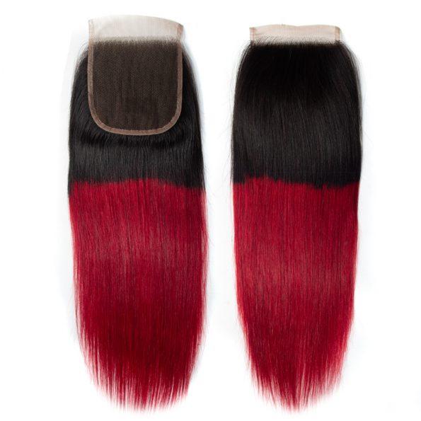 1B/Burgundy Straight Hair 3 Bundles With Closure