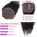 Deep wave Hair 4 Bundles With 6×6 Lace Closure