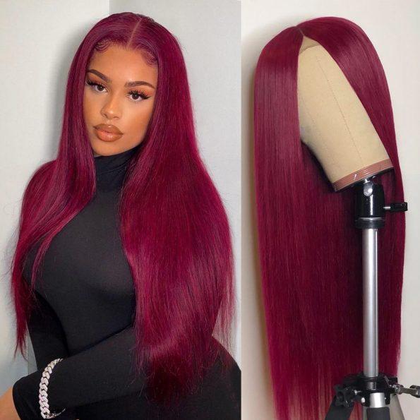 99J Straight 5x5 Lace Closure Wigs