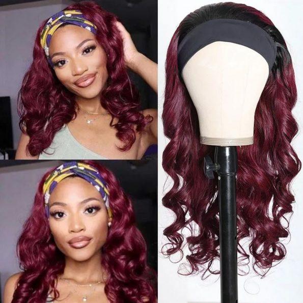 Body Wave Headband Wig 99J Color (1)