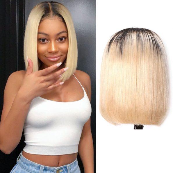 Brazilian 1b blonde Straight Bob Wig 13×6 Lace Front colored (2)