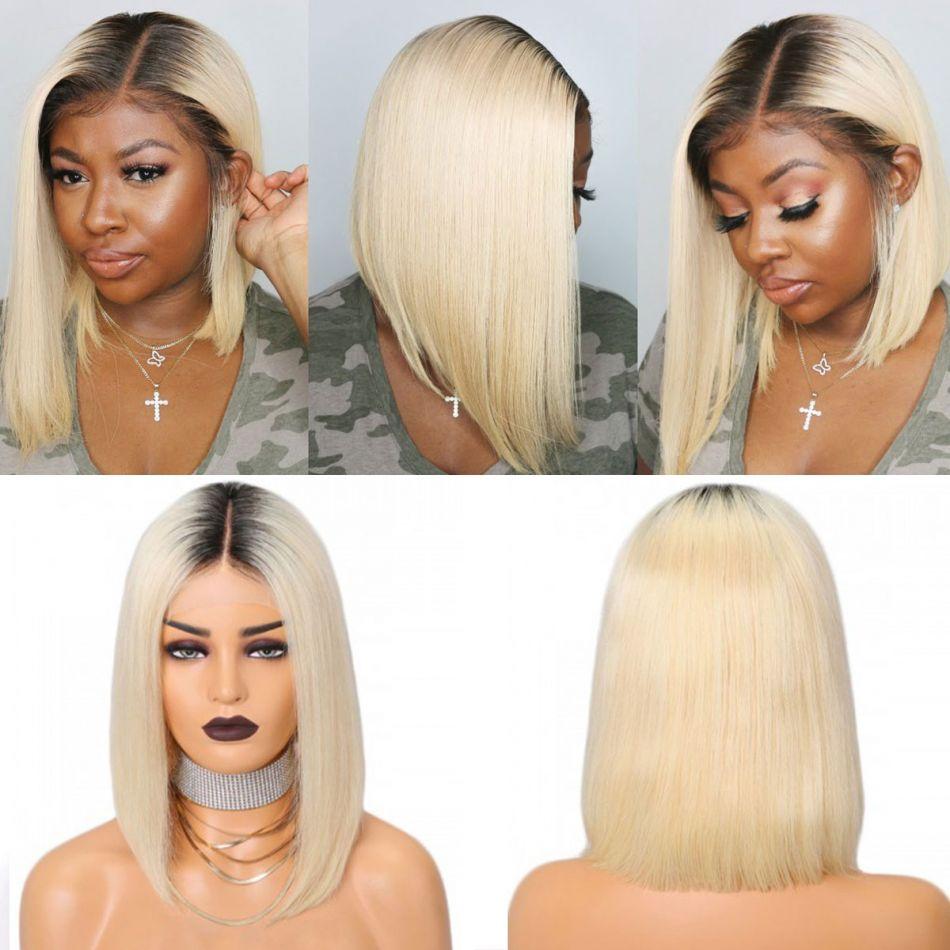 Brazilian 1b blonde Straight Bob Wig 13x6 Lace Front colored