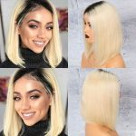 Brazilian 1b blonde Straight Bob Wig 13×6 Lace Front colored (1)