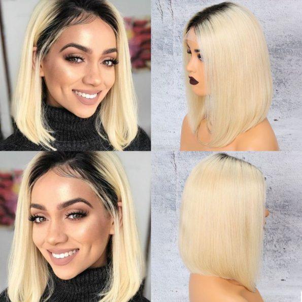 Brazilian 1b blonde Straight Bob Wig 13×6 Lace Front colored (6)