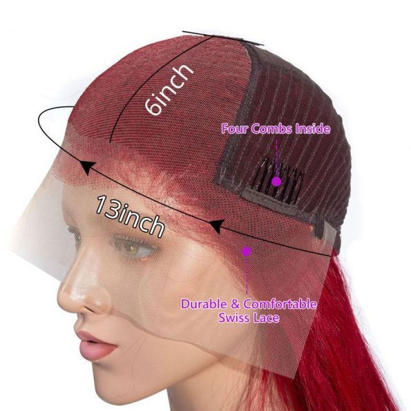 Redwine Color Straight 13×6 Lace Wigs (1)