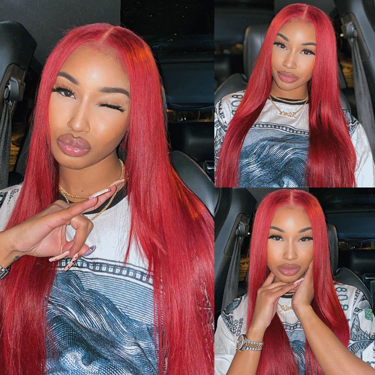 Redwine Color Straight 13x6 Lace Wigs