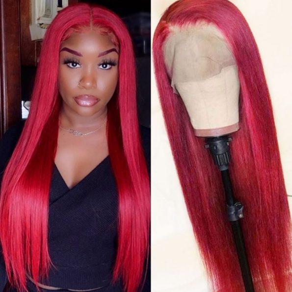 Redwine Color Straight 13×6 Lace Wigs (2)