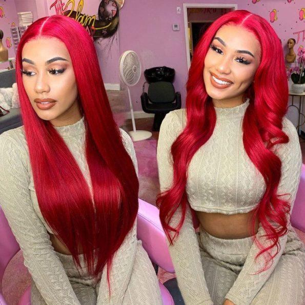 Redwine Color Straight 13×6 Lace Wigs (7)