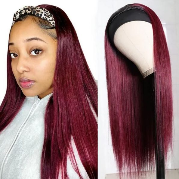 Straight Hair Headband Wig 99J Color (1)