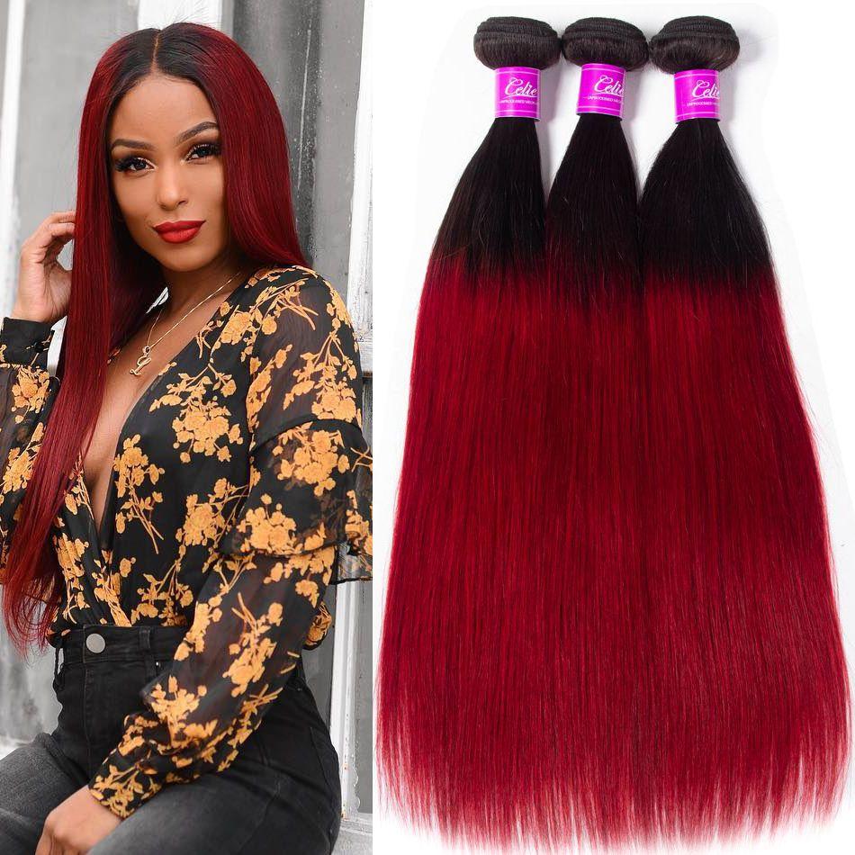 celie hair 1b red ombre straight hair