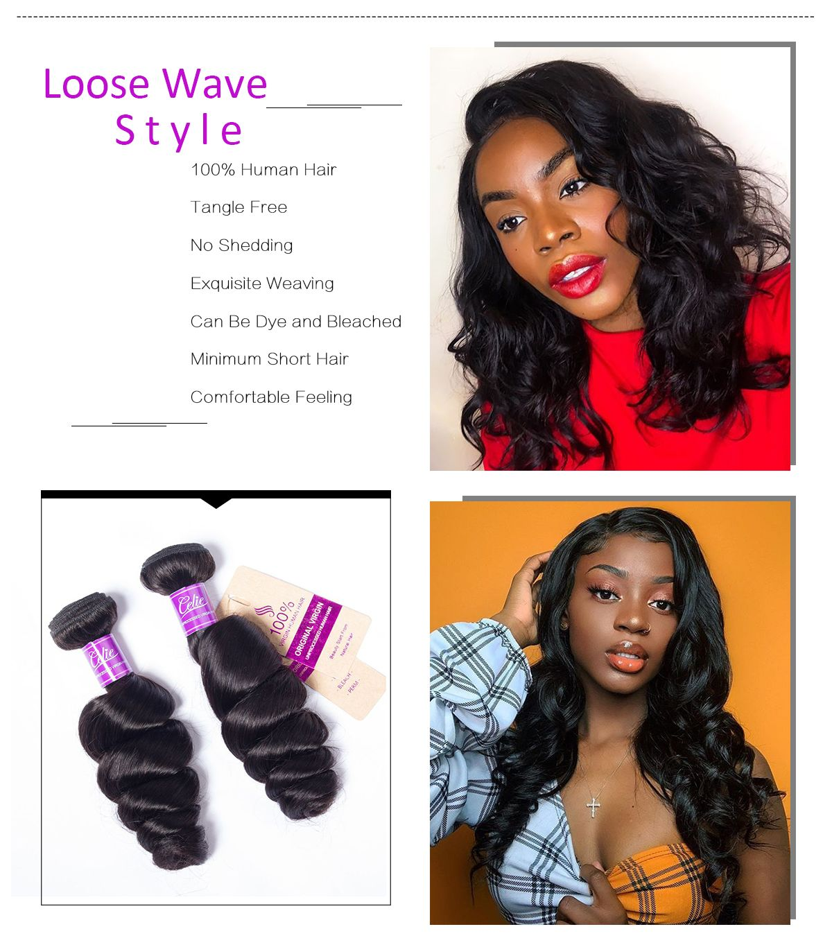 Loose Wave 4 Bundles With Closure