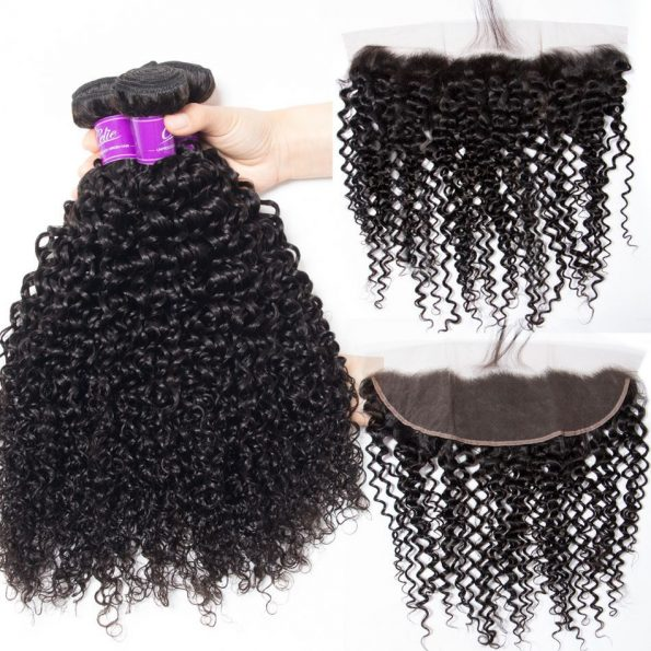 Curly Hair 3 Bundles With Frontal