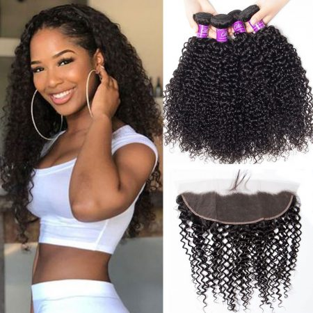 Curly Hair 4 Bundles With Frontal