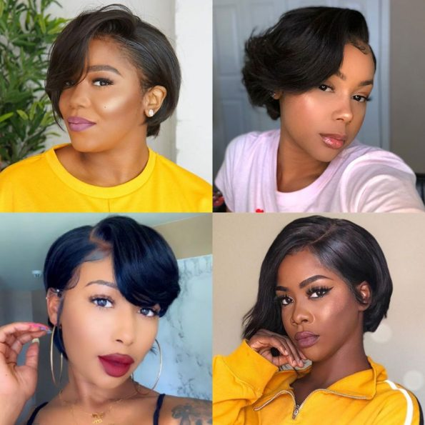 customized straight side part pixie 13×6 lace wig (1)