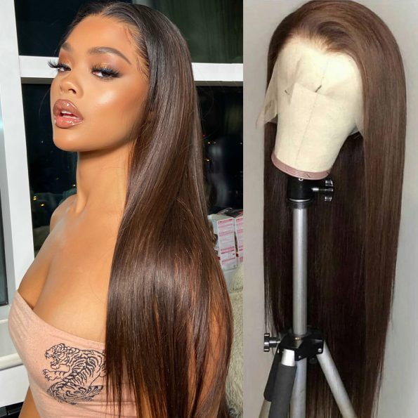 dark brown straight lace front wig (1)