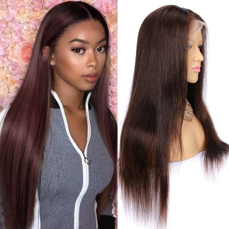 dark brown straight lace front wig