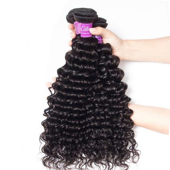 Deep wave Hair 3 Bundles With 6×6 Lace Closure