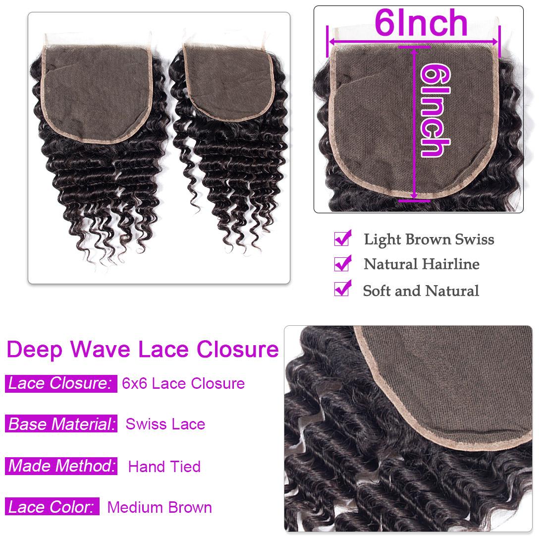 Deep wave Hair 4 Bundles With 6x6 Lace Closure