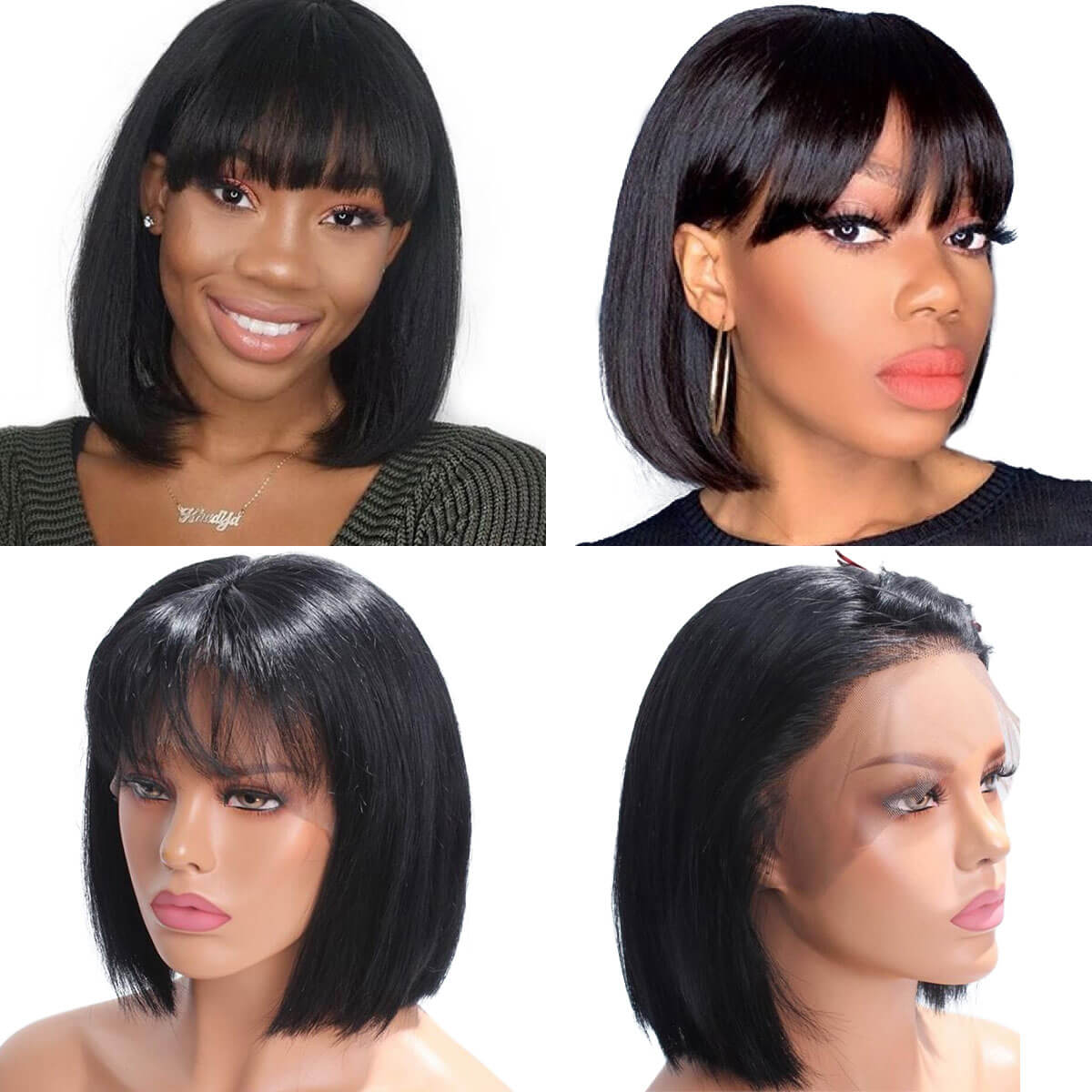 full lace straight bob wig with bangs