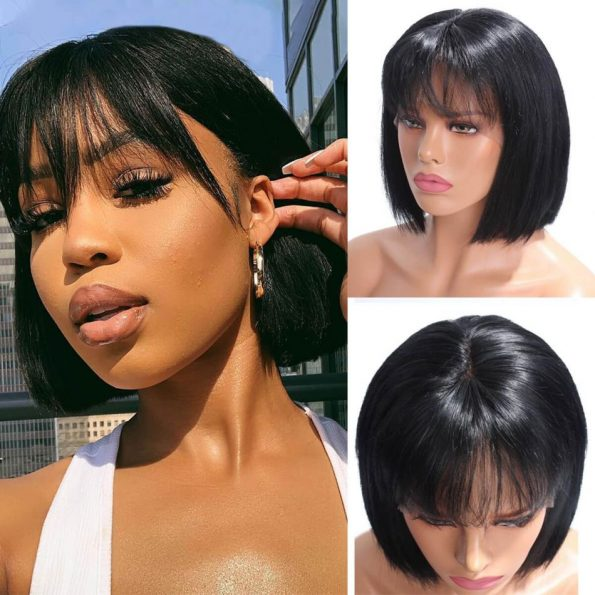 full lace straight bob wig with bangs (2)
