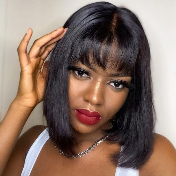 full lace straight bob wig with bangs (5)