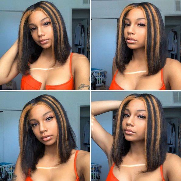hightlight straight bob 13×4 lace front wig (3)