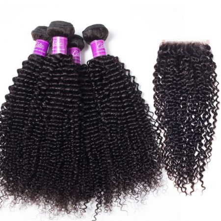 Kinky Curly 4 Bundles With Closure