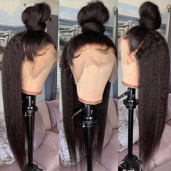 kinky straight lace front wig 4