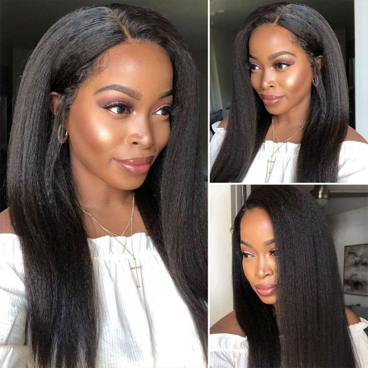 kinky straight lace front wig