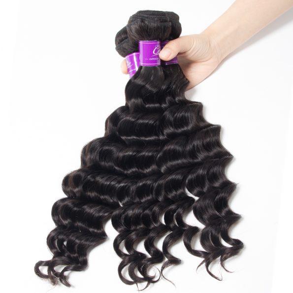 Loose Deep wave Hair 3 Bundles With 6×6 Lace Closure