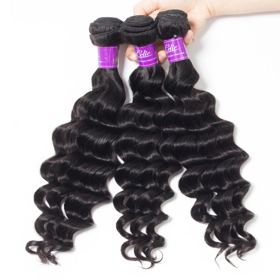Loose Deep wave Hair 3 Bundles With 6x6 Lace Closure
