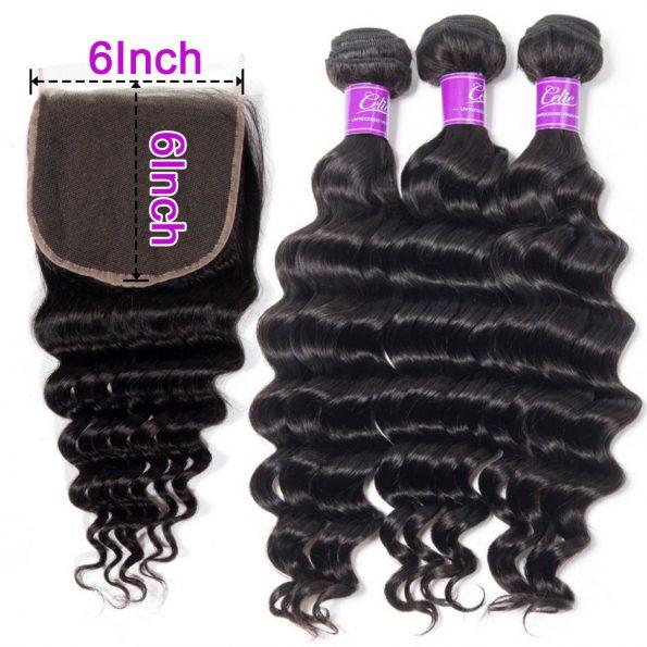 Loose Deep wave Hair 4 Bundles With 6x6 Lace Closure