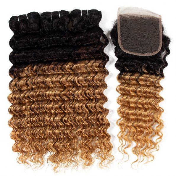 1B/27 deep wave Hair 3 Bundles With Closure