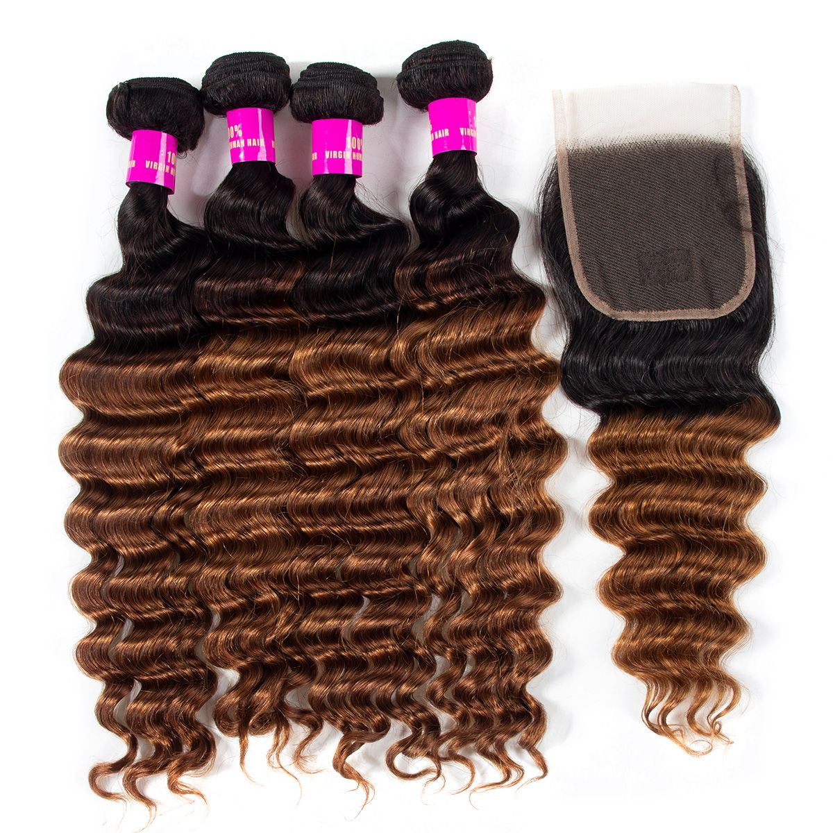 1B/30 Loose deep wave Hair 3 Bundles With Closure