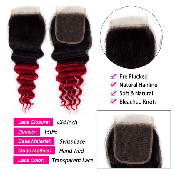 1B/Red Loose deep wave Hair 3 Bundles With Closure