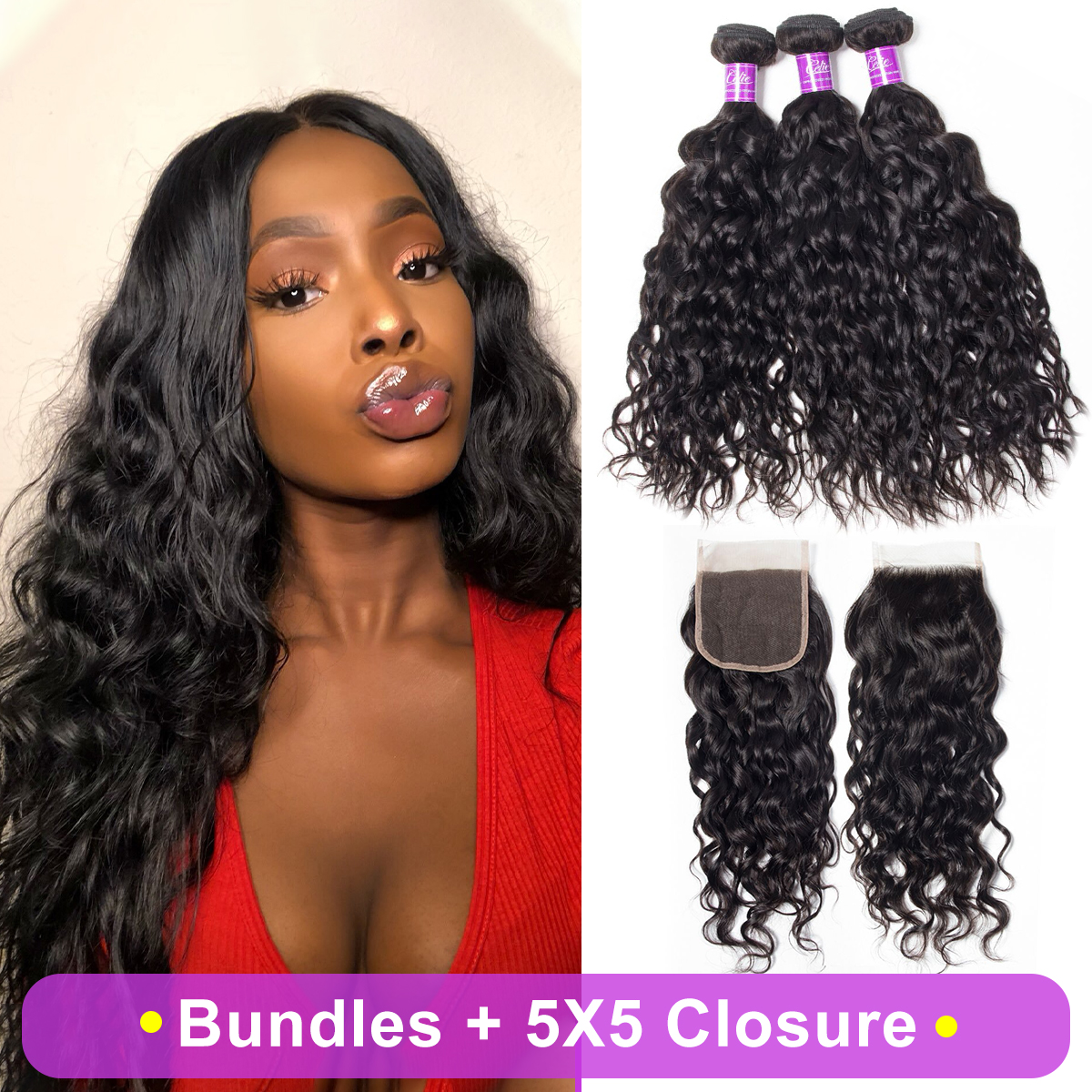 Water Wave 3 Bundles With 5x5 Closure