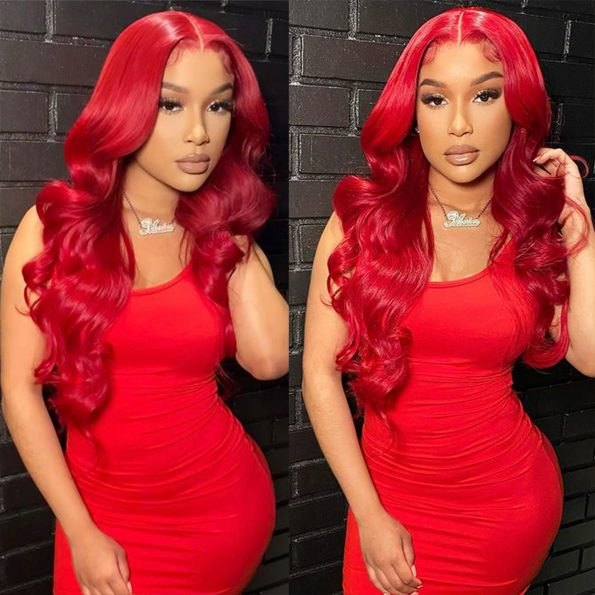 red body wave lace front wig