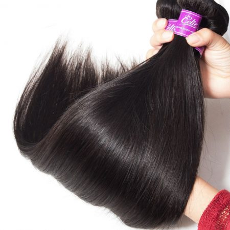Straight Hair Transparent Lace Frontal With Bundles