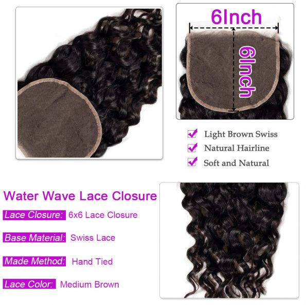 water wave Hair 4 Bundles With 6×6 Lace Closure