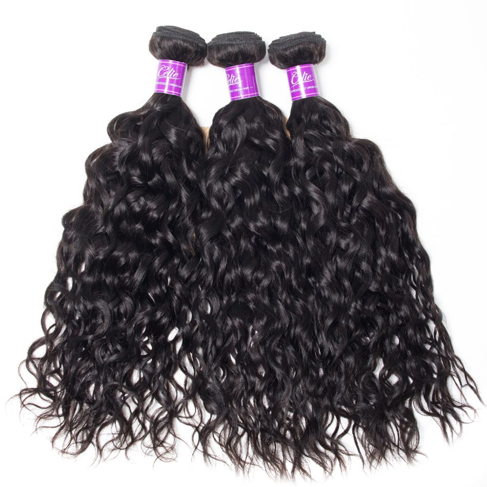 water wave Hair 3 Bundles With 6x6 Lace Closure