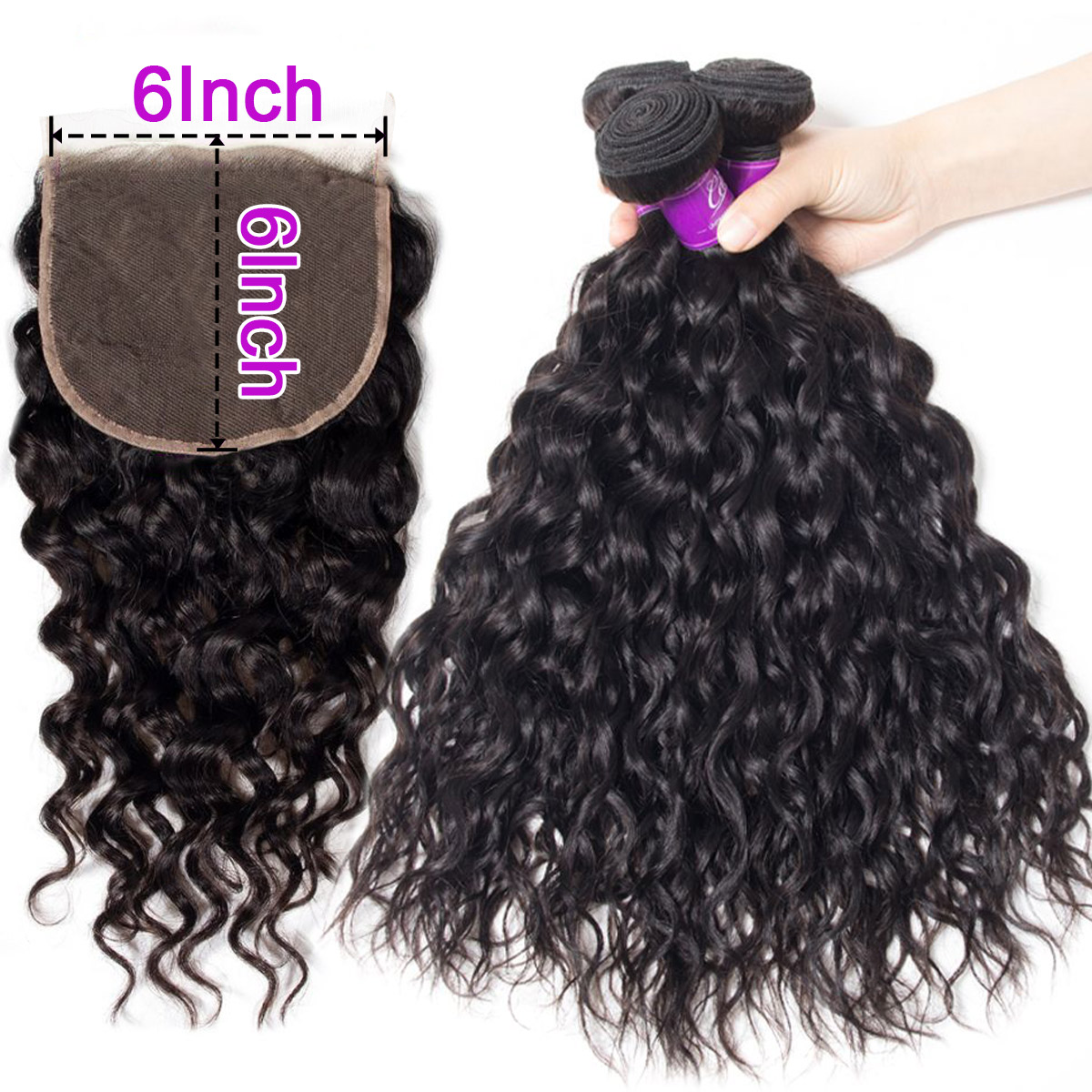 water wave Hair 4 Bundles With 6x6 Lace Closure