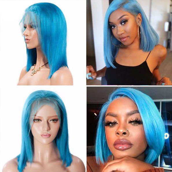blue bob wig human hair