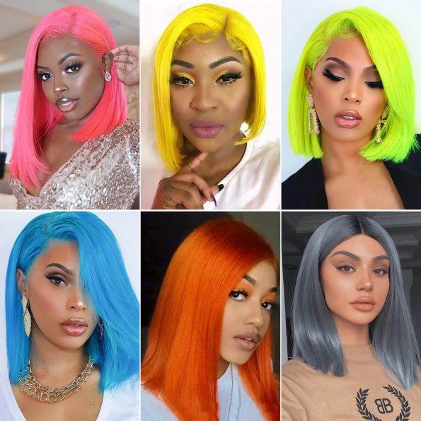 colored bob wigs human hair